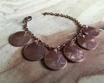 Custom penny birthday bracelet penny charm bracelet personalized birthday jewelry copper penny bracelet coin bracelet birthday gift