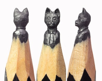 Mr Cat - carved pencil sculpture by Fidai