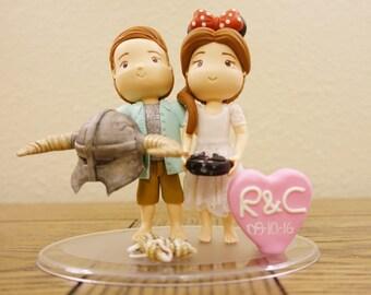 Custom Cute Wedding Cake Topper. Skyrim Helmet and Minnie Hat.