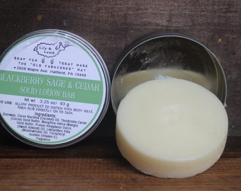 Blackberry Cedar Sage scented - solid lotion bar - Cocoa and Mango Butter, Meadowfoam Oil