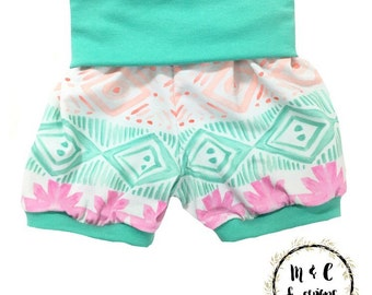 Mint & Pink Navajo Shorties with Mint Cuffs and Rolled Waist Band- Baby Toddler Child custom- Handmade to order