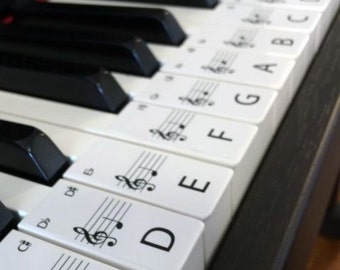 STANDARD Keyboard / Piano Stickers up to 61 KEYS the best way to learn Piano