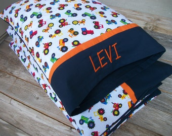 Boy Nap Mat Cover & Personalized Toddler Pillow/Tractors ***Choose your size!