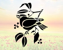 Bird on Twig Eating Berries Stencil or Wall Decal DIY Project