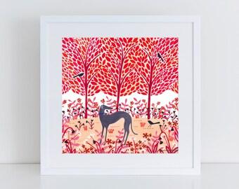 Autumn Greyhound Art Print | Giclee Print | Illustration | Woodland Scene | Dog Print | Dog Art | Dog Lover Gift