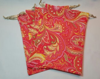 Pink & Yellow Paisley fabric drawstring bags/ party favor bags/ goody bags