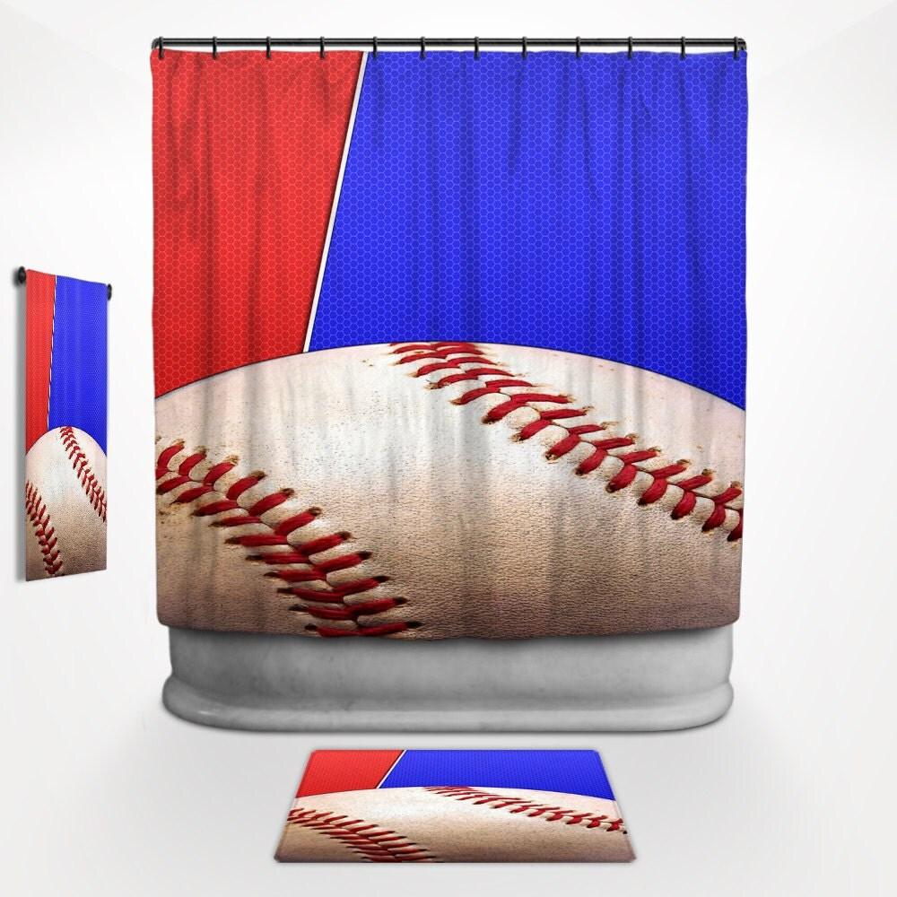 Baseball shower curtain baseball bath decor baseball for Baseball bathroom ideas