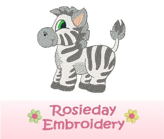 Cute zebra machine embroidery design fill stitch zoo