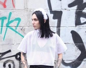 Airtex mesh cropped tshirt