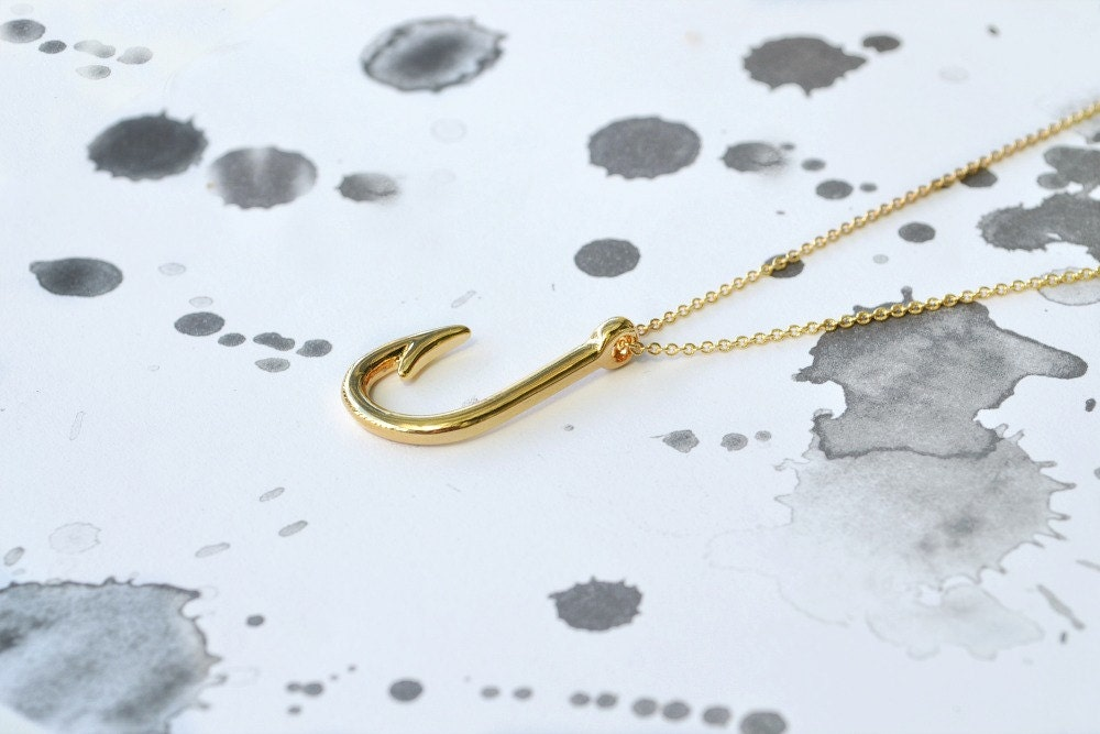 Gold fish hook necklace fishing lure jewellery by discoluxe for Gold fish hook pendant