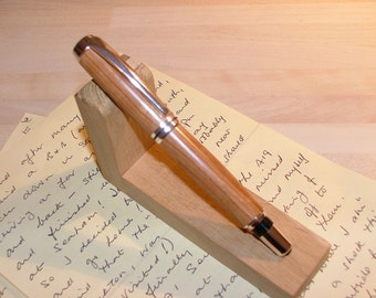 Silver plated, handcrafted Rollerball Pen in Olive wood. Lovely gift. (Item 333)