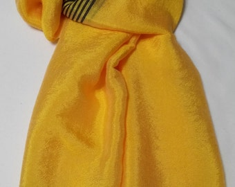 Women's 100% Handwoven Bright Yellow/Black Contrasted Lustrous Ethiopian Cotton Scarf