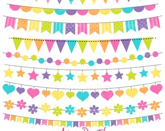 Bunting Banner Clipart. Scrapbook printable, Rainbow banners for Commercial Use. Colorful Spring Clip art, Easter flag banner