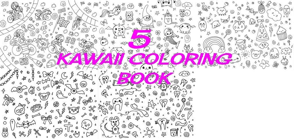 Libro da colorare kawaii bambini teen carini cibo personaggi for Immagini disegni kawaii