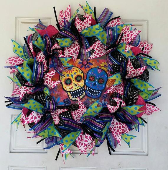 Day of the Dead Wreath, Sugar Skull, Dia de los Muertos ...
