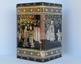 Large Vintage Tin Storage Box w Attached Lid - Japanese Cherry Blossom Geisha Scene