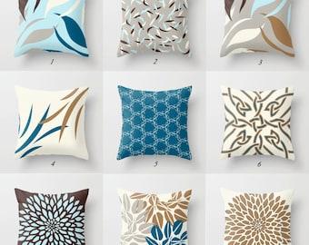Blue Brown Pillow, Blue Throw Pillow, Brown Pillow Covers, Blue Gray Pillow, White Pillows, Tan Pillows Decorative Pillows Designer Pillows