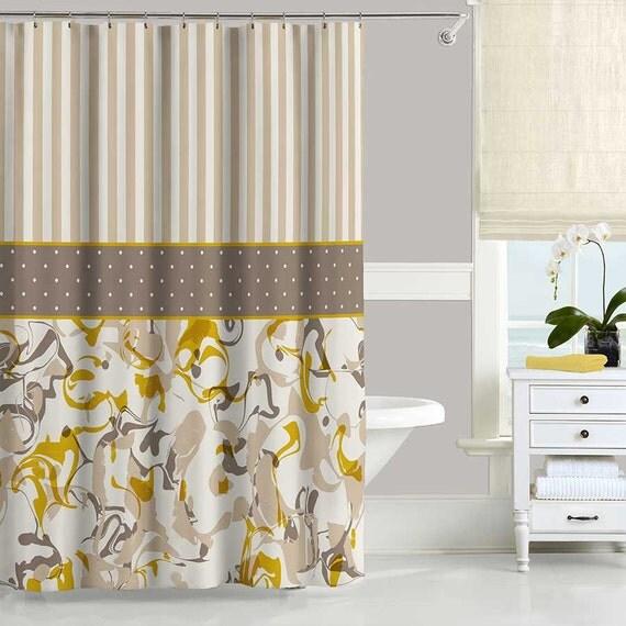Mustard Yellow Shower Curtain Brown Beige