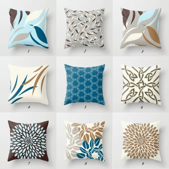 Blue Brown Pillow Blue Throw Pillow Brown Pillow Covers