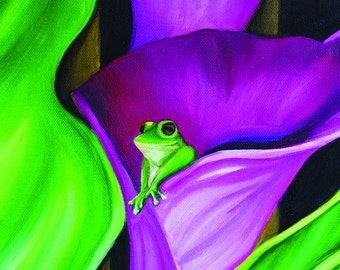 """Froglily No 02 -  10 by 8"""" print (Original Oil Painting by Artist Barbara Noel)"""