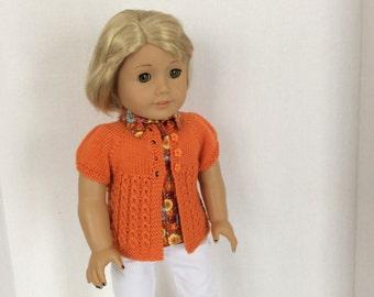 Grace-- Short Sleeve Sweater Knitting Pattern for American Girl -PDF