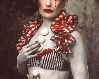 Burlesque Striped Tie on  Ruffle Shrug MISS DIVINE