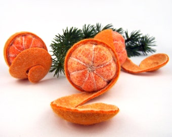 3 tangerines felted. Art Deco. Table decorations, table decorations, home decor of citrus. Seasonal decor. Orange felted. Clementine felted. TaFiO