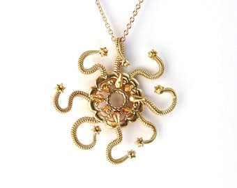 Jellyfish Discalia medusina pendant - marine biology - science jewelry in bronze, brass & silver