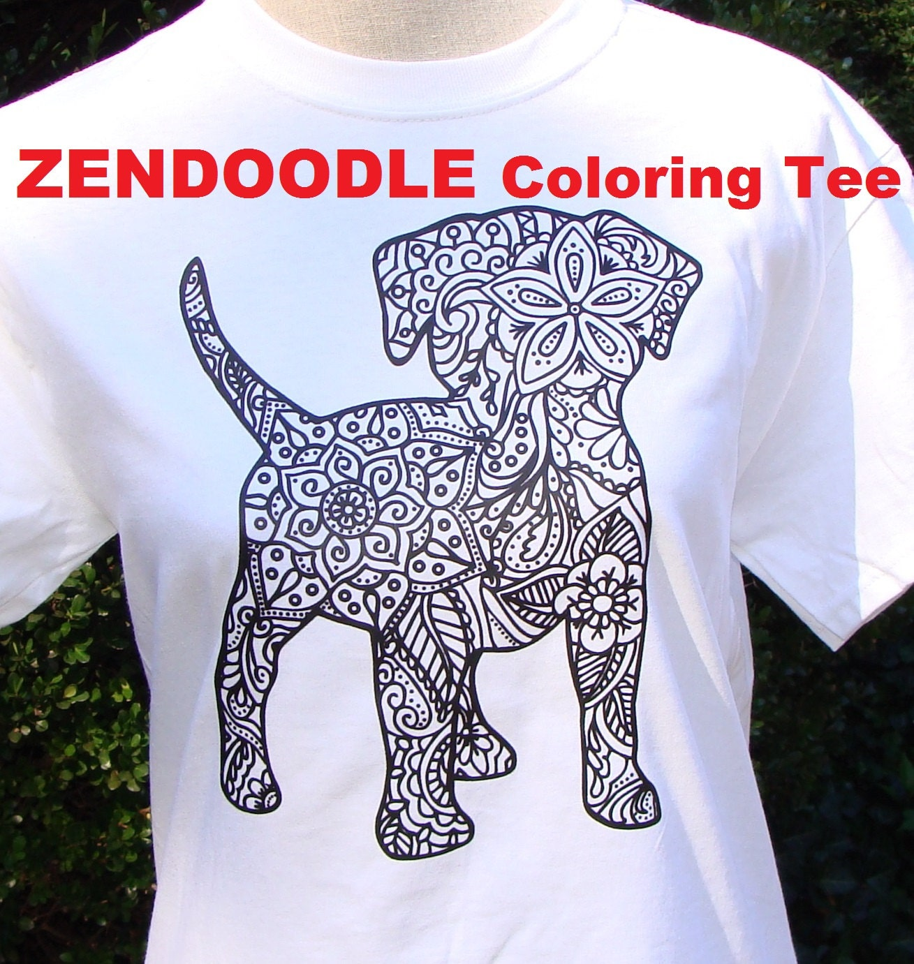 puppy dog graphic tee zendoodle kid coloring page t