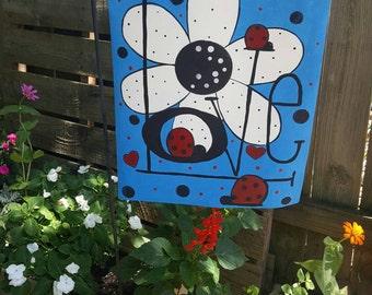 Love Bug Garden Flag- Hand painted