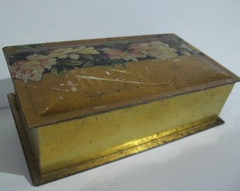 Vintage Gold Tindeco Candy Tin