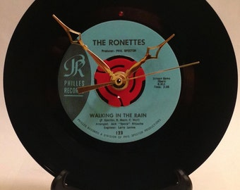 "Recycled THE RONETTES 7"" Record • Walking In The Rain • Record Clock"
