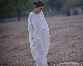 Mumbai, Kala Cotton Long Dress With Charcoal Stripes & Embroidery, Organic