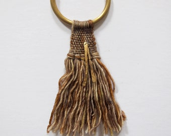 Textile Fabric Necklace, tassel necklace, hammered brass necklace, textile art, fringe jewelry, weaving art, fall jewelry, tassel necklace