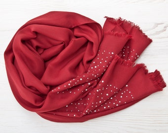 Red Scarf with Rhinestones Pashmina Fashion Scarf Large Women Scarf Mothers Day Gift Wrap Scarf Valentines Day Gift Poncho Wrap