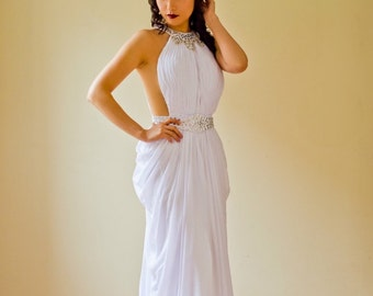 Long White Halter Chiffon Crystal Embellished Bridesmaid Dress, Prom, Wedding Reception, Homecoming Dress