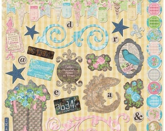 "SALE! Prairie Chic -  Adhesive Chipboard 12""X12"""