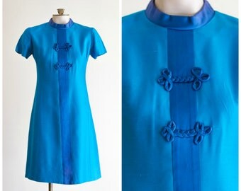 1960s mod Chinese style blue silk and satin a-line dress