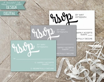 Printable RSVP Card - Simply Classic - Digital File - Customizable