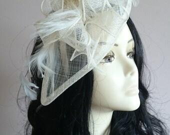 Cream  Sinamay Teardrop Fascinator With Feathers Weddings-Ascot-Races-Ladies Day
