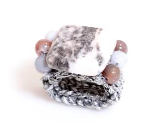 Gemstone Ring, Glamour ring, Knitted ring, bespoke ring, Semi PreciousStone ring, stretch ring, crochet ring, yarn ring, Zebra Jasper Ring