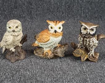 Vintage Ceramic Perched Owl Figurine Set Of 3
