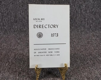 American Federation Of Musicians Directory And Instrumentation Local 802 C. 1973