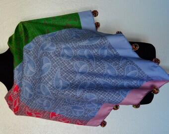 Colorful vintage scarf with pom pom