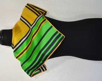 Vintage yellow and green silk scarf