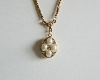 Gold Tone Byzantine Chain with Pearl and Clear Rhinestone Photo Picture Locket Necklace
