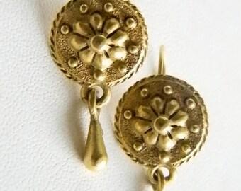 Muted Gold Tone Medallion Dangle Pierced Earrings