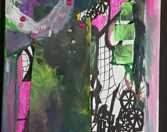 Mixed Media Original art abstract painting street art contemporary collage modern