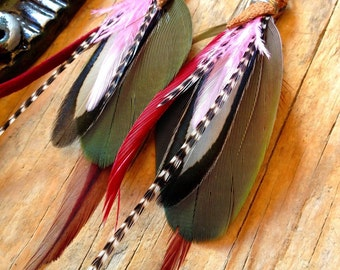 Parrot feather earrings cruelty free handemade with love by Xtazik creations