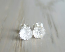 Rough Herkimer Diamond Earrings, Raw Crystal Studs, April Birthstone Jewelry, Bridal Jewelry, Anniversary Gift for Wife, Daughter Birthday